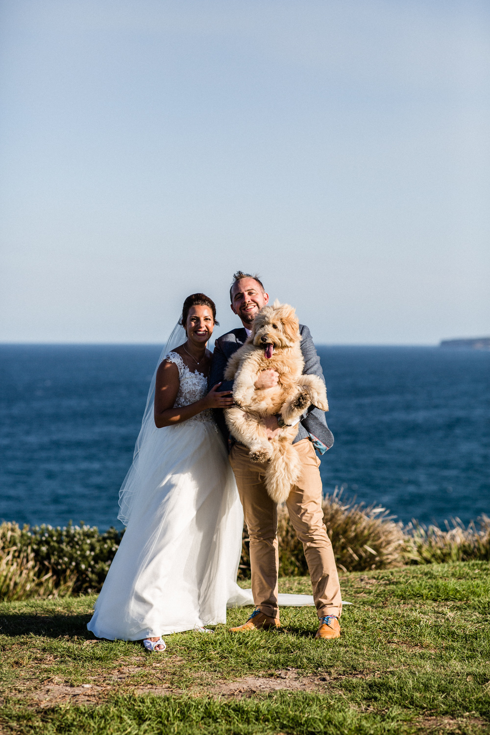 BRIDE AND GROOM AND THEIR DOG IN SYDNEY
