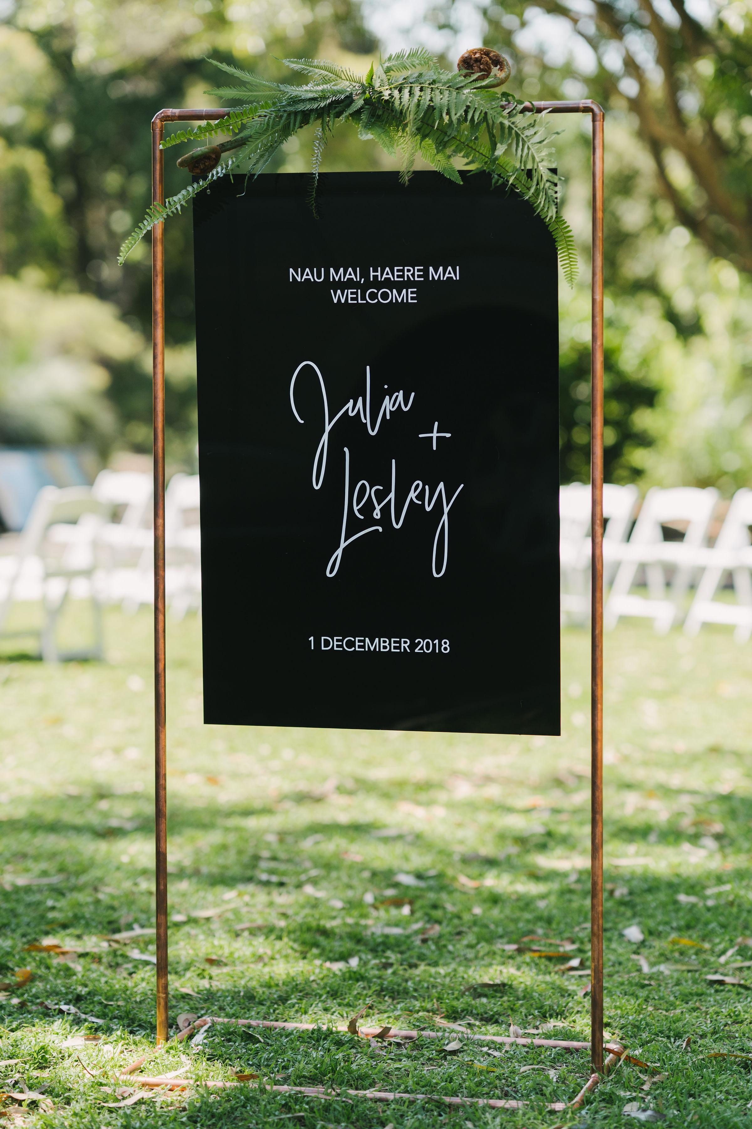 Beautiful black acrylic wedding sign. Wedding at The Palm House Lawn Royal Botanic Garden Sydney