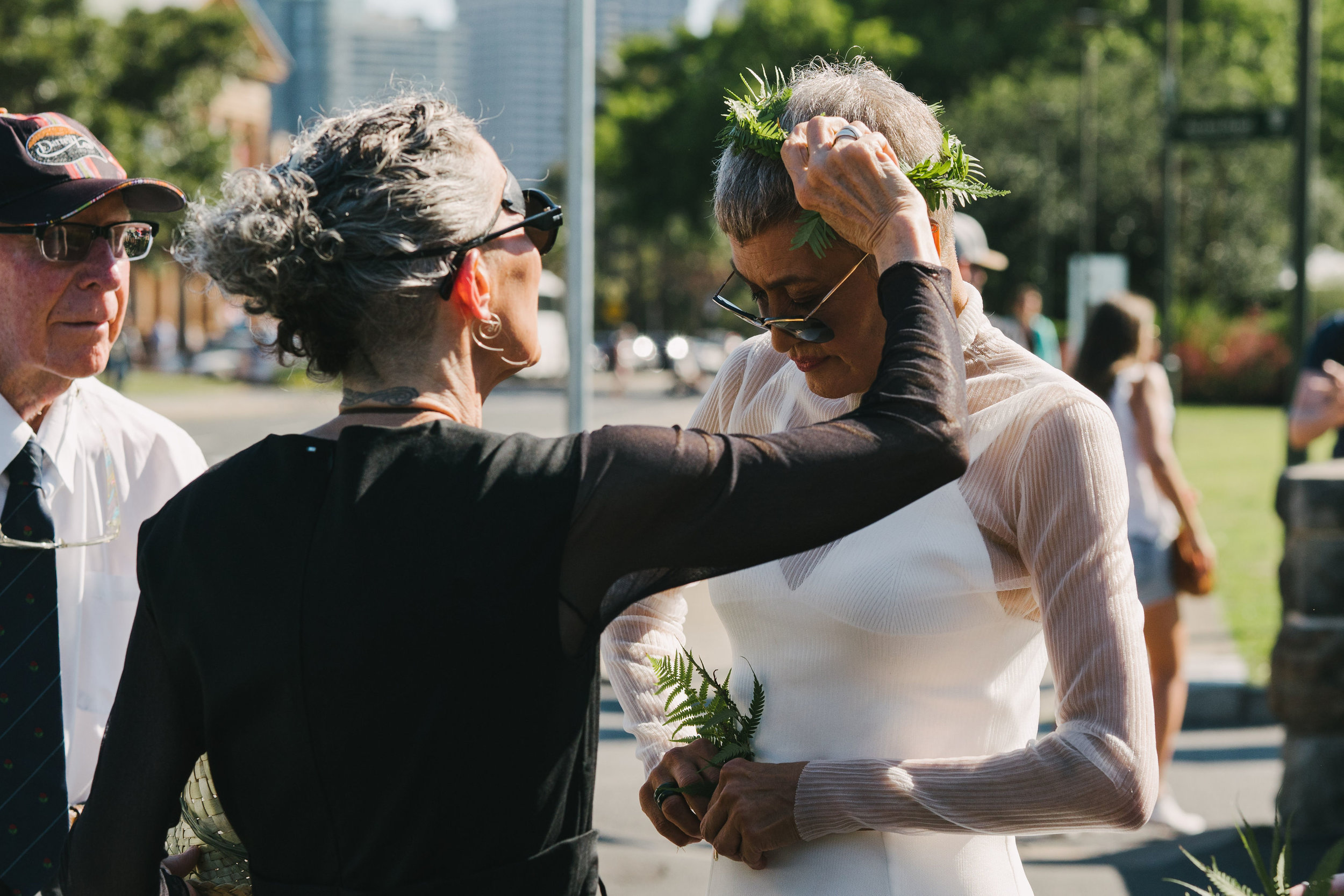 Brides arriving at their wedding ceremony