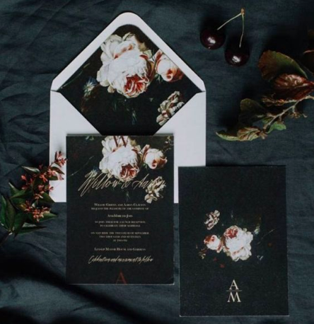 Add a dark twist to your invites - we're crushing on this design which is dark and romantic. Image: Pinterest
