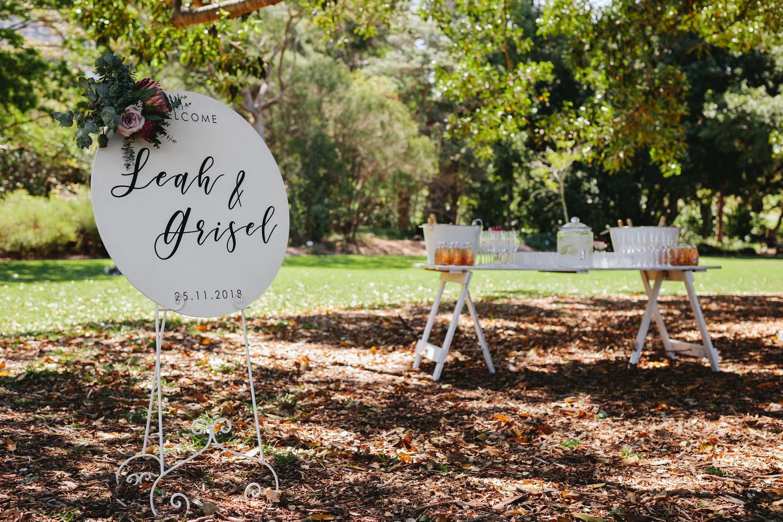 Wedding ceremony set up at the Fig Tree Lawn Royal Botanic Garden Sydney.