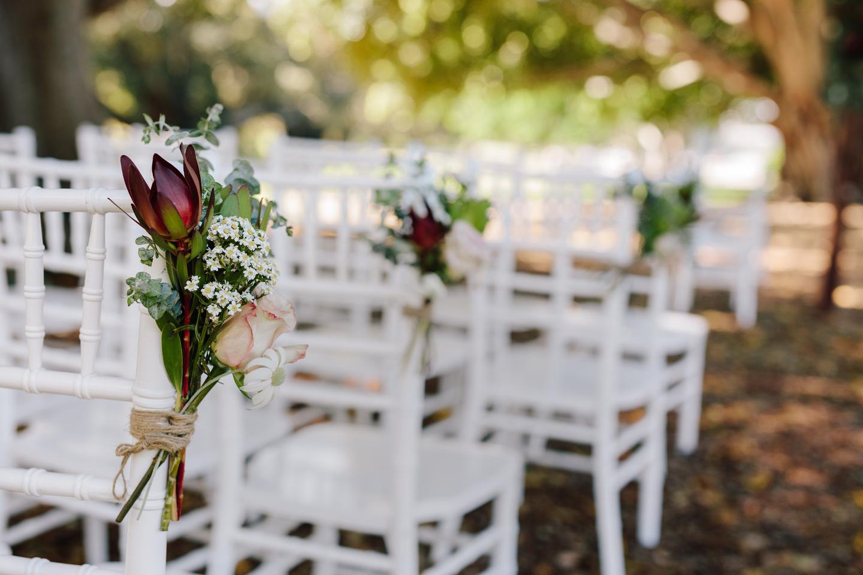 Gay wedding set up at the Royal Botanic Garden Sydney Fig Tree Lawn