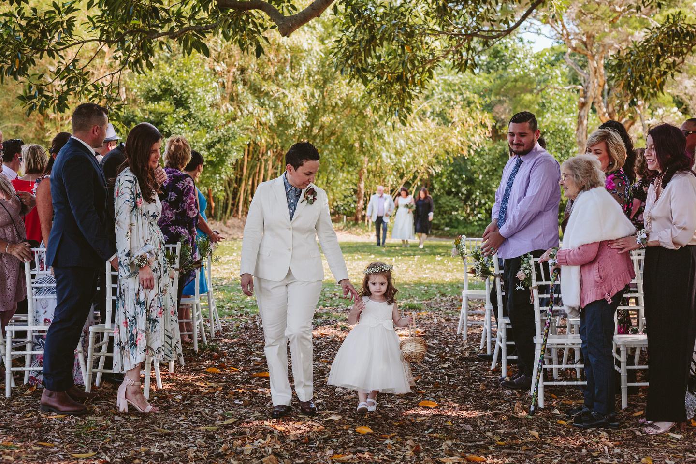 Bride and flower girl, Royal Botanic Garden Sydney wedding