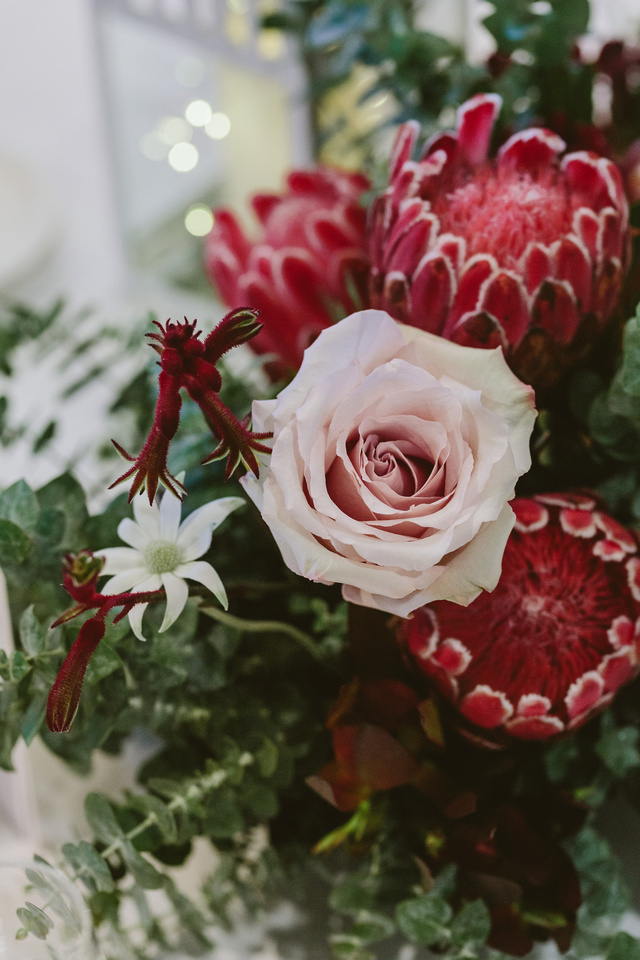 Wedding flowers. Australian natives and pink roses