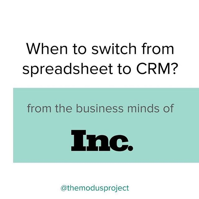 Spreadsheets work well at first, until you start to grow. CRMs (Customer Relationship Management) turn the unruly into functional. See LINK in bio or below, for @incmagazine 3 reasons to make the switch! _ 1. You're Losing Money (by losing out on potential customers and revenue) 2. Information Gets overwhelming (and you can't keep track) 3. Someone Tells You to Switch (generally, when you're ready to scale) . . . #themodusproject #findyourmodus #smallbusiness #entrepreneur #businessowner #hardworkpaysoff #consultations #dailygrind #selfmade #moveforward #movementforward #smallbusinesslove #findyourmovementforward #accountingtips #accountingsoftware #accountinglife #waystosave #tipsandtricks #inc