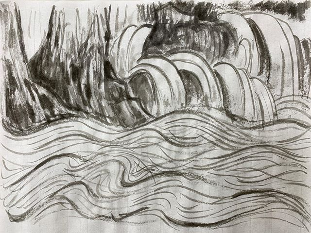 A few lines can't be that hard, or so I thought. I do not understand water at all. #art #chinese #landscape #water #ink