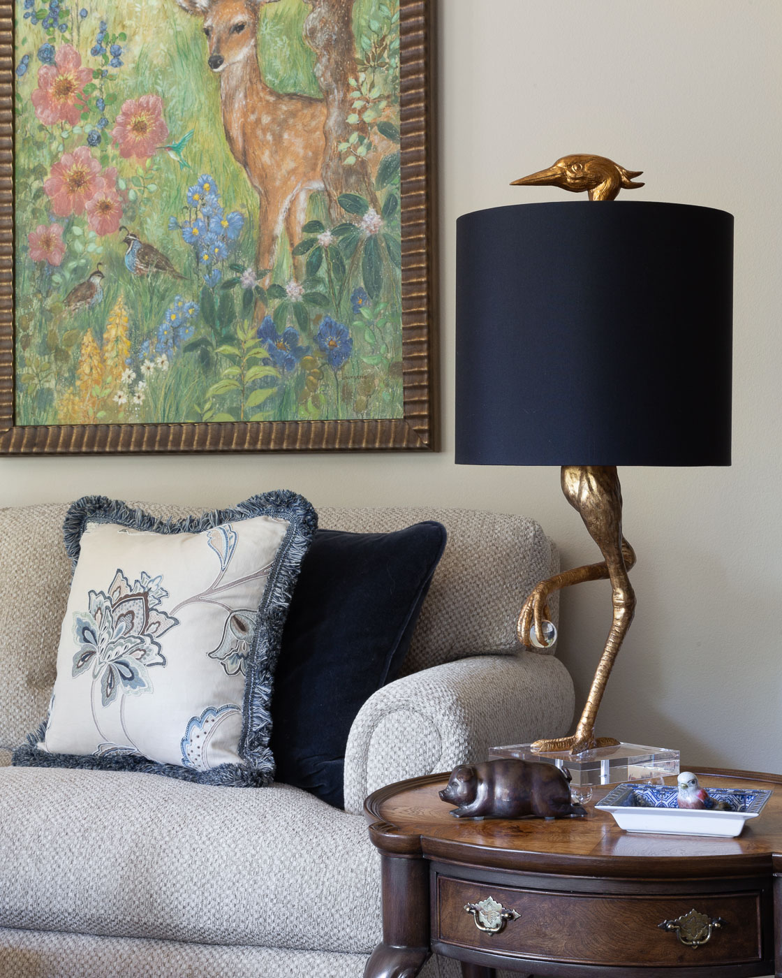 Quirky & humorous Ibis lamp nestles next to the newly framed & fanciful art diptych.