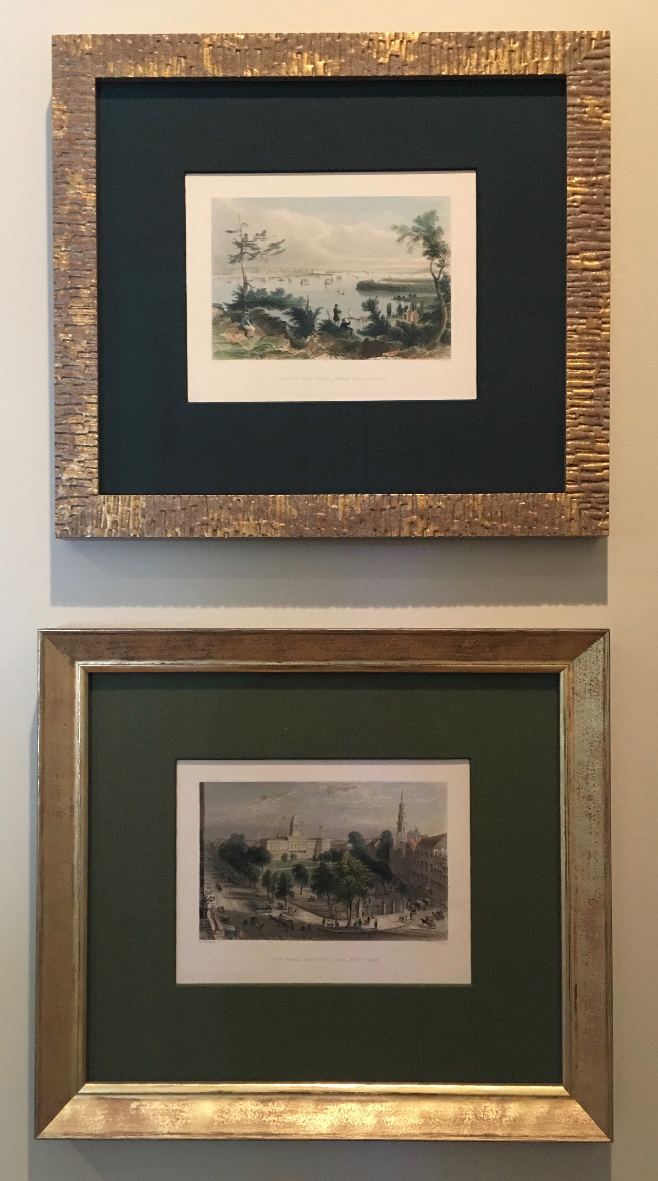 Brushed gold frames and two shades of green mattes accentuate these small intricate works.