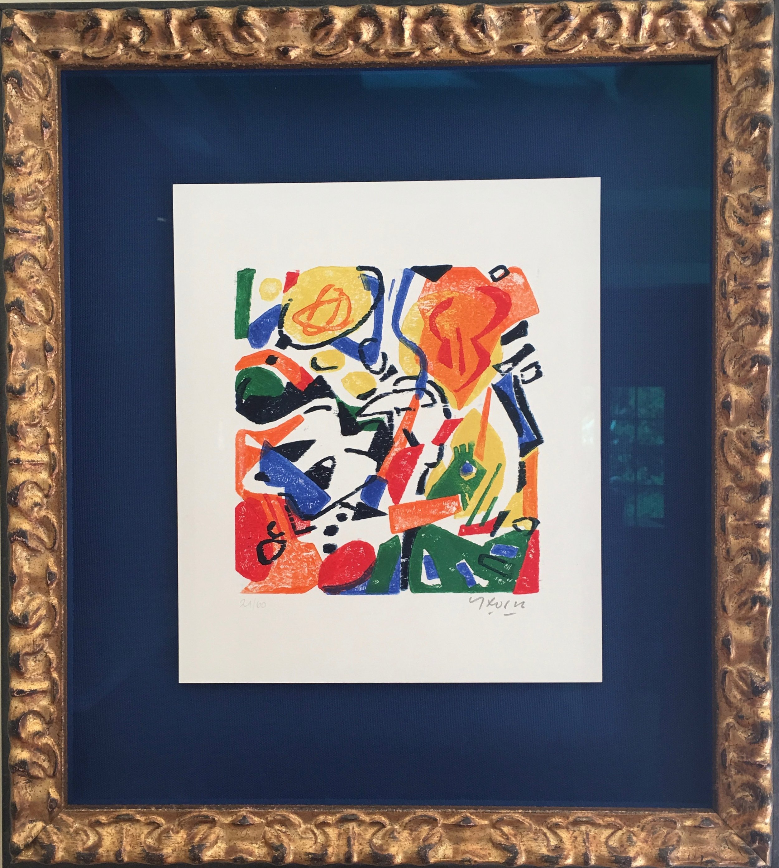Contemporary piece by Cristian Korn in a gilded frame.