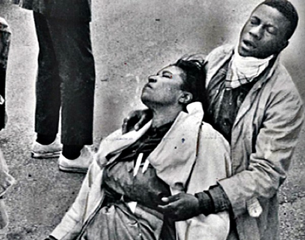 Amelia Boynton, Civil Rights activist, after she was beaten unconscious by state troopers on Bloody Sunday.