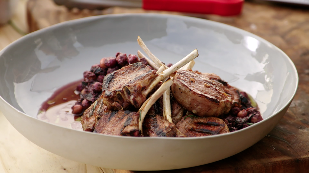 GRILLED LAMB CUTLETS & CHICKPEA SALAD