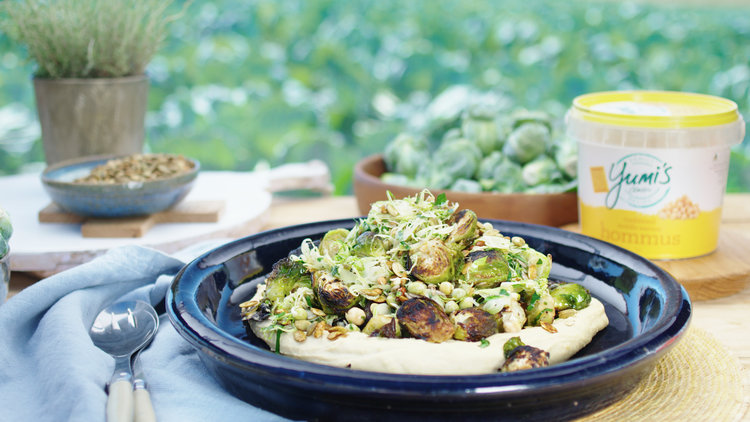 Roasted Sprout Salad with Maple and Hommus