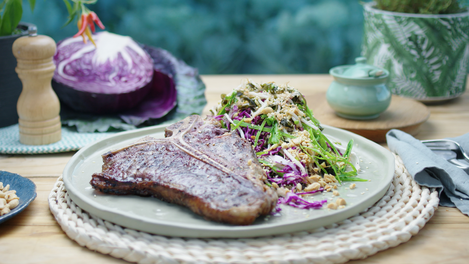 Barbecue T- Bone with Pickled Japanese Slaw
