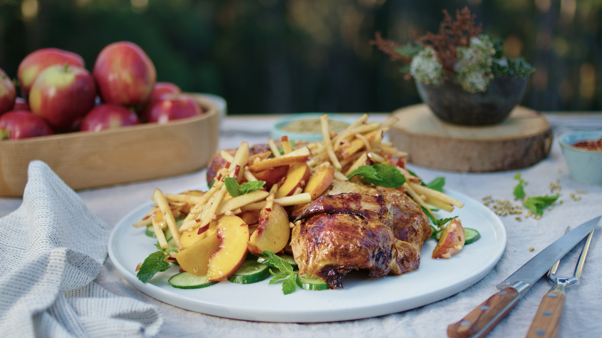 Barbecued Turmeric Chicken with Apple and Peach Salad