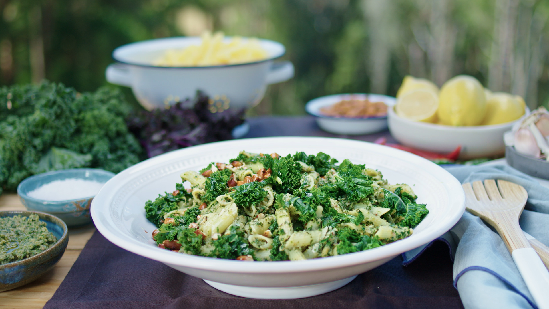 Kale Almond and Tuna Pesto with Penne