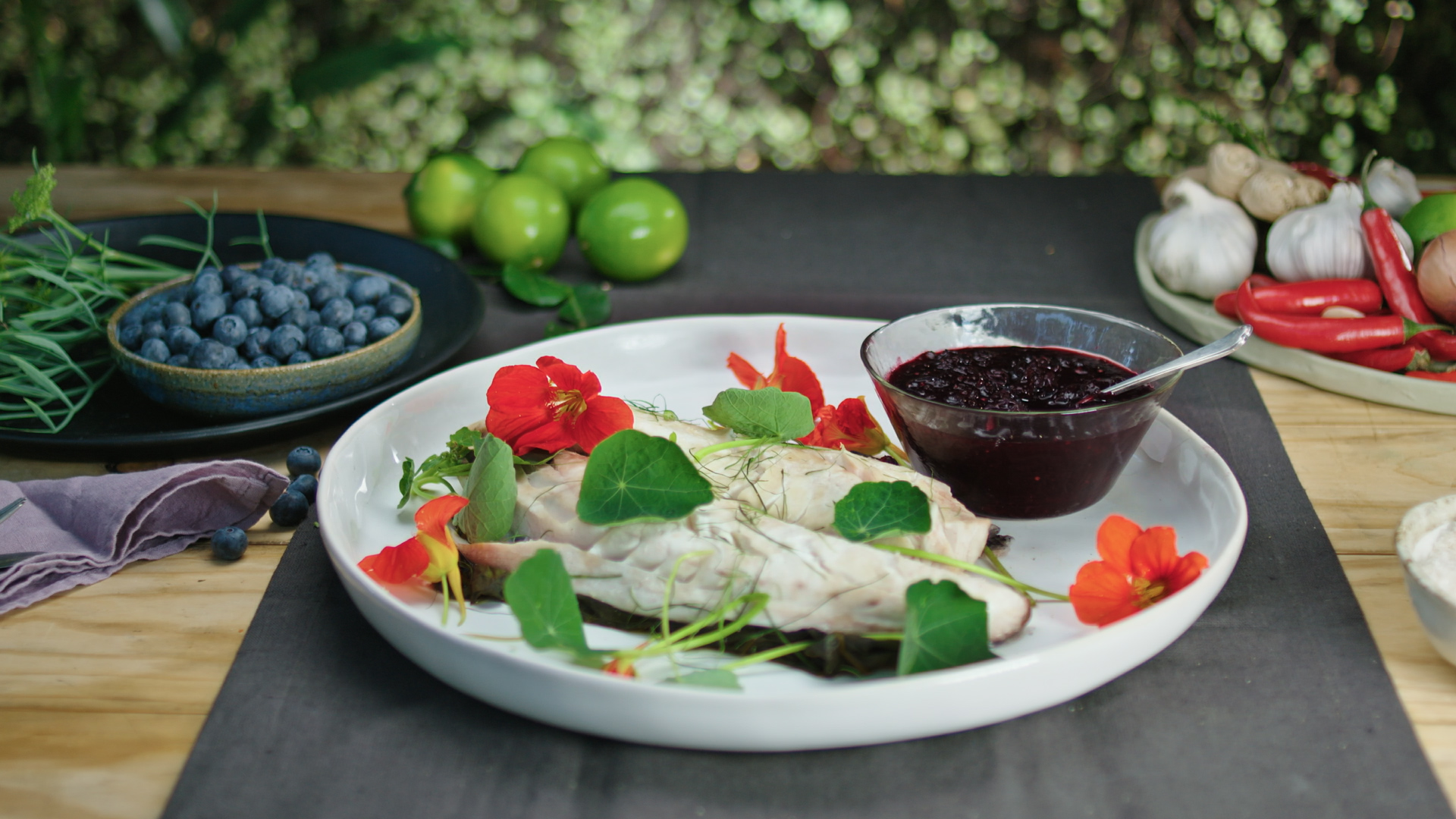 Chili Blueberry Jam with Steamed Fish