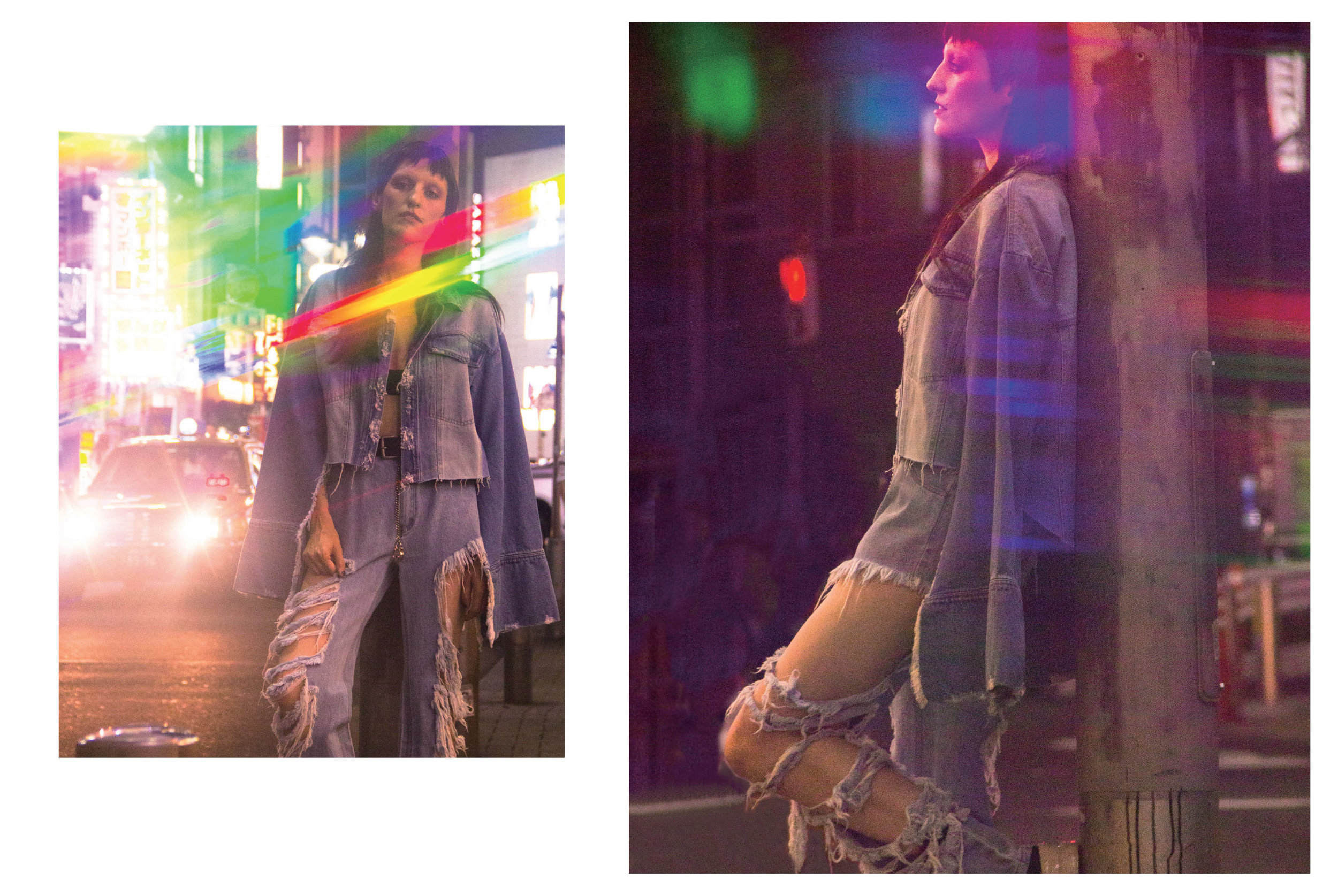 NIGHT EVER: SILVER DOLLAR distressed denim jeans and RYAN denim jacket, both by PONY STONE.