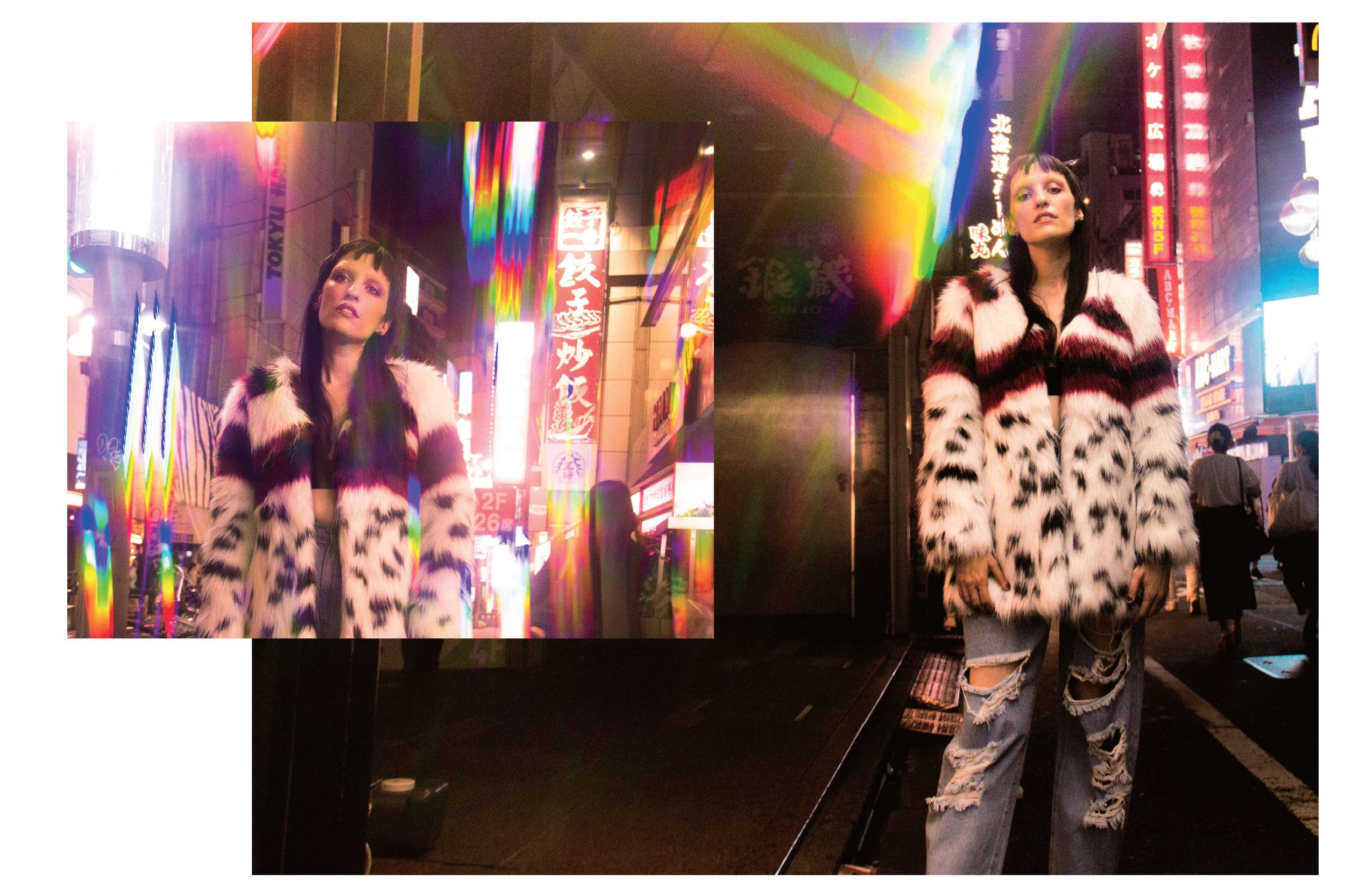 NIGHT FEVER:Eco fur coat by MOLLIOLLI; KISBER distressed denim jeans by PONYSTONE.