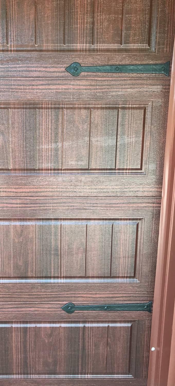 Maple Creek Magnetic Hinges on Mahogany Garage Door