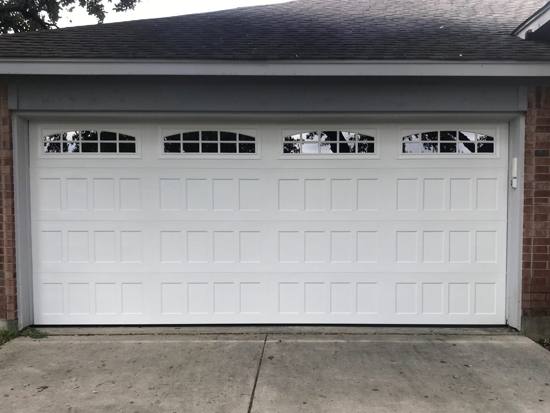 16x7, Amarr Oak Summit, Recessed Panel, White Color, Cascade Windows