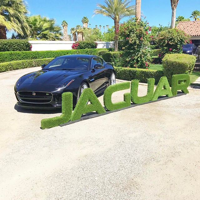 we love creating custom product displays that fit the environment. Jaguar #FTYPE is right at home with these hedging letters.  #tbt to the #vsAngelOasis at #coachella2017 🌳🌱🍃🌿