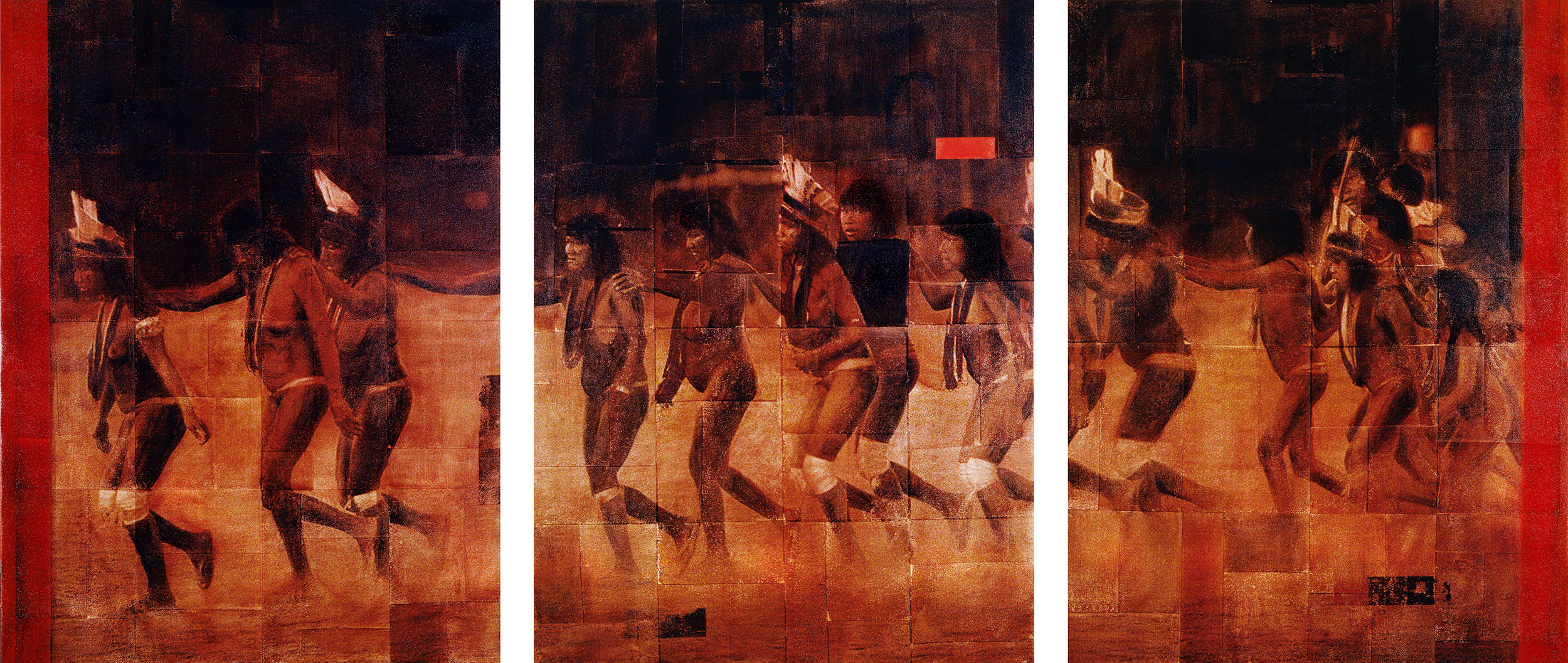Linedance Suya Triptych  Phototransfer / Oil on Canvas 320 x 142 cm / 126 x 56 in Collection of Kristin & Andy Jacob / Arizona 1998
