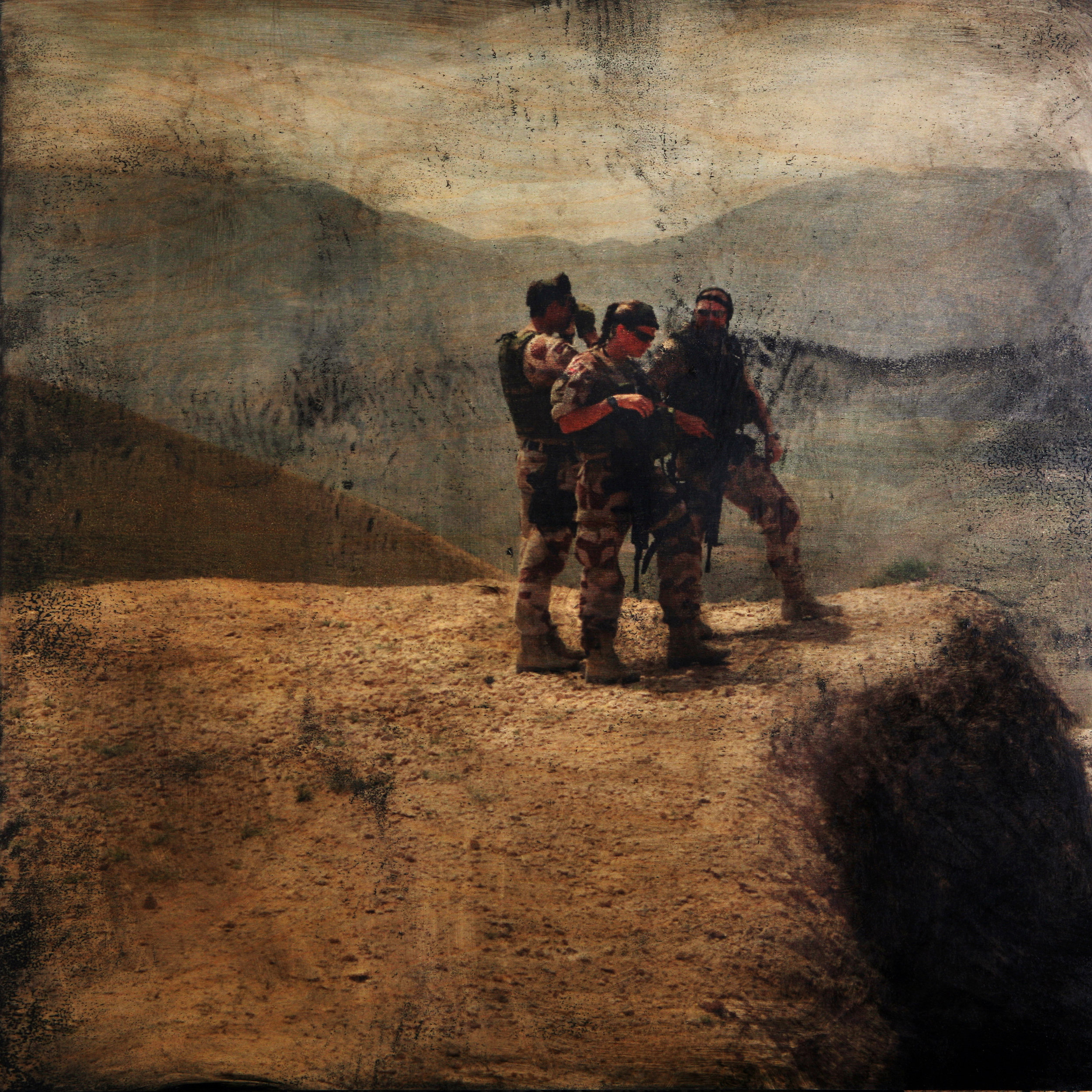 Nightwarriors  Phototransfer / Oil on Canvas 182 x 152 cm / 72 x 60 in Private Collection / United States