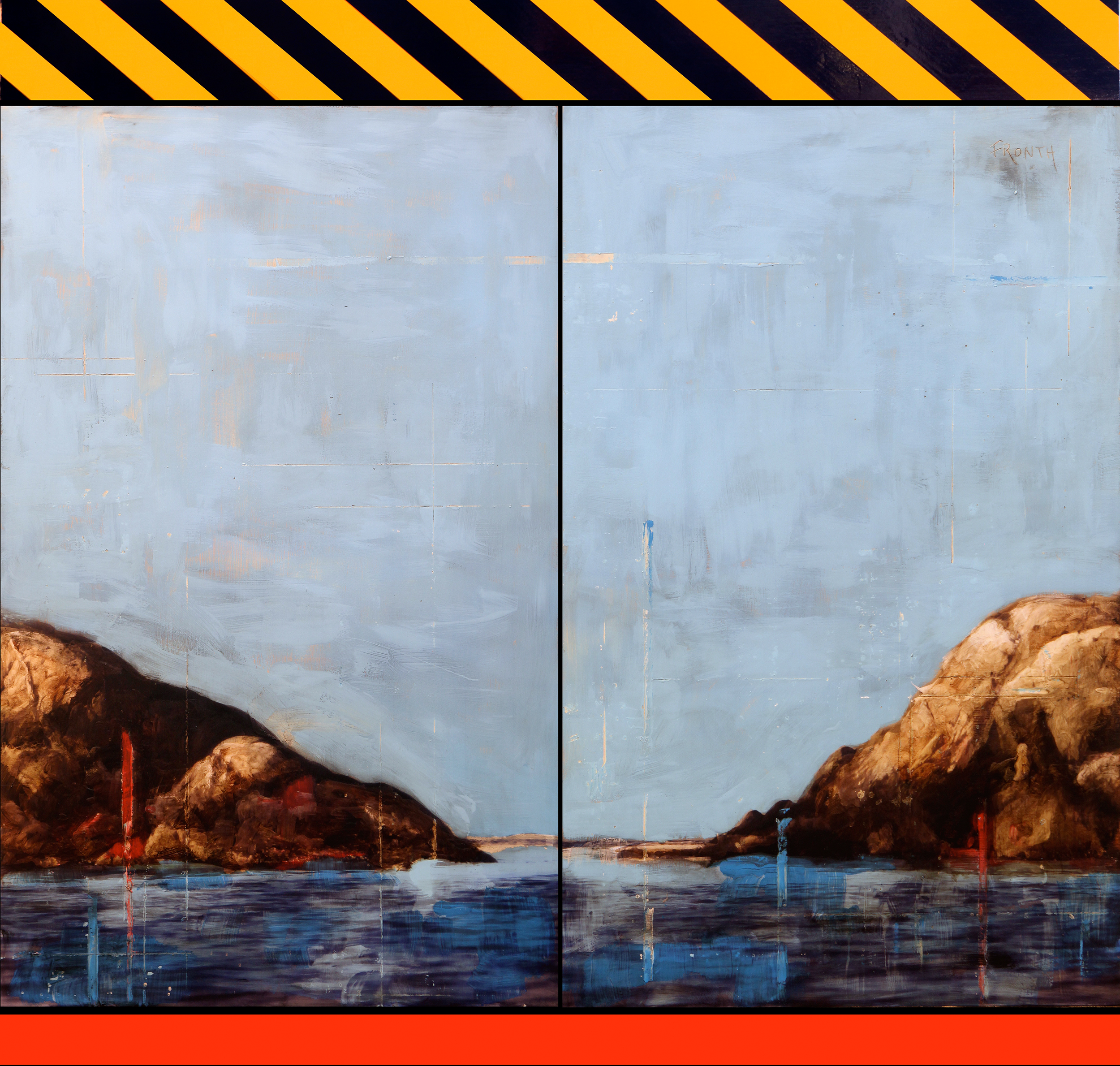 Landscape Divided / Ribeholmen  Mixed Media / Oil on MDF / 4 panels 240 x 200 cm / 94 x 78 in Collection of Sparebanken Sør / Norway 2014