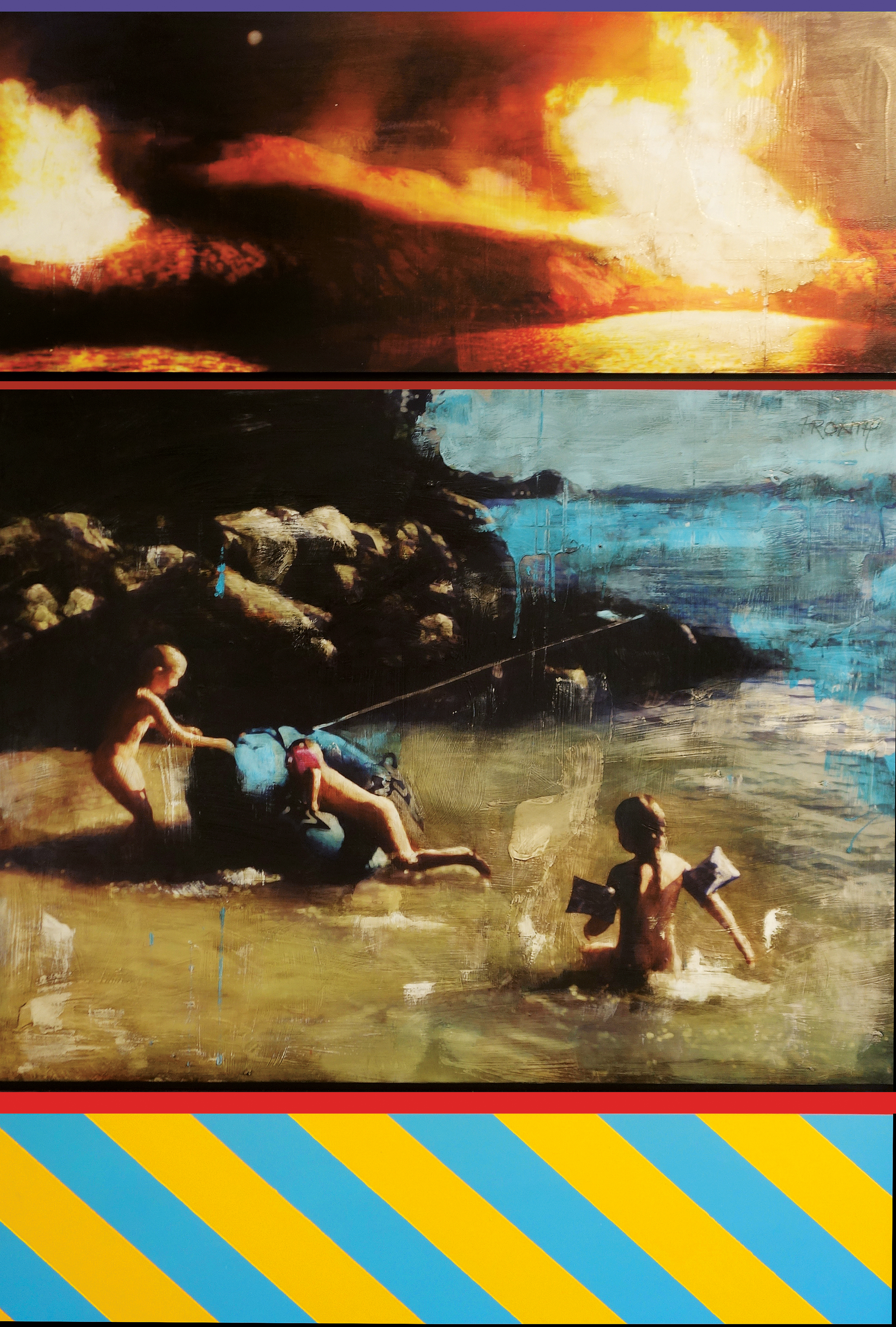 Ritual / First Day of Summer / Blue Inflatable  Mixed Media / Oil on MDF / Trip-tych 100 x 147 cm / 39 x 57 in Private Collection / Swtzerland 2014