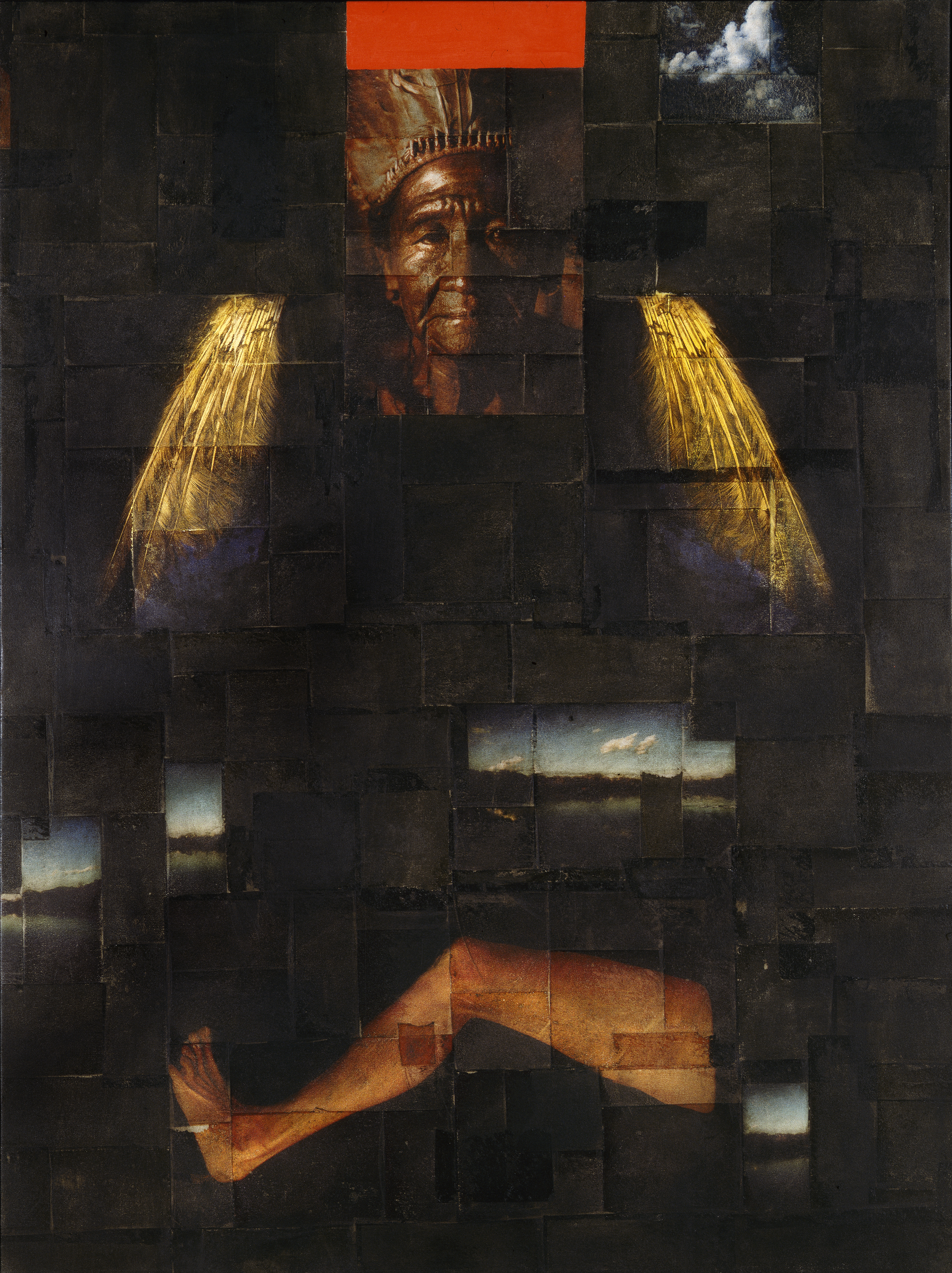 Cloud ( Pingu Chief)   Phototransfer / Oil on Canvas 53 x 203 cm / 60 x 80 in Collection of Assuranceforeningen Gard / Norway 1998