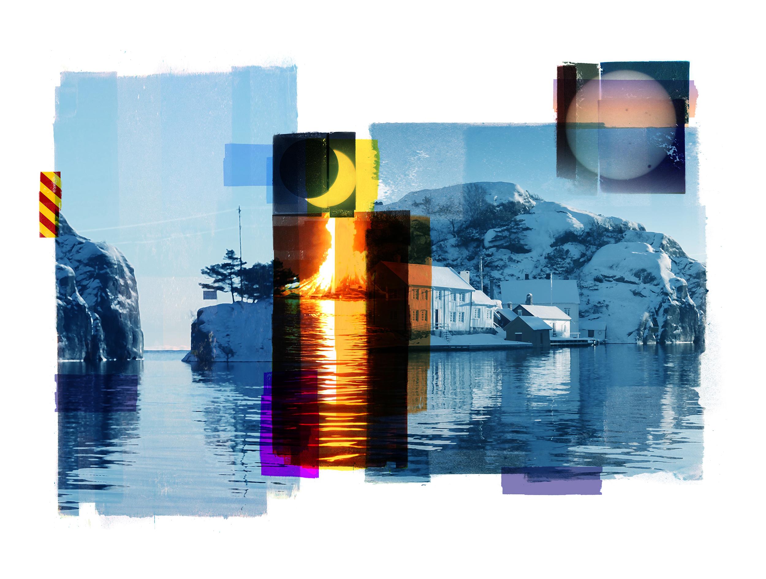 A Winter sun / Eclipse / Venus Passage (Archipelago)  Photolitho/ BFK Rives 300 gr 78 x 59 cm / 30,7 x 22,5 in Edition of 100 + 10 Ap Editeur: IDEM PARIS / Per Fronth  16/2016: