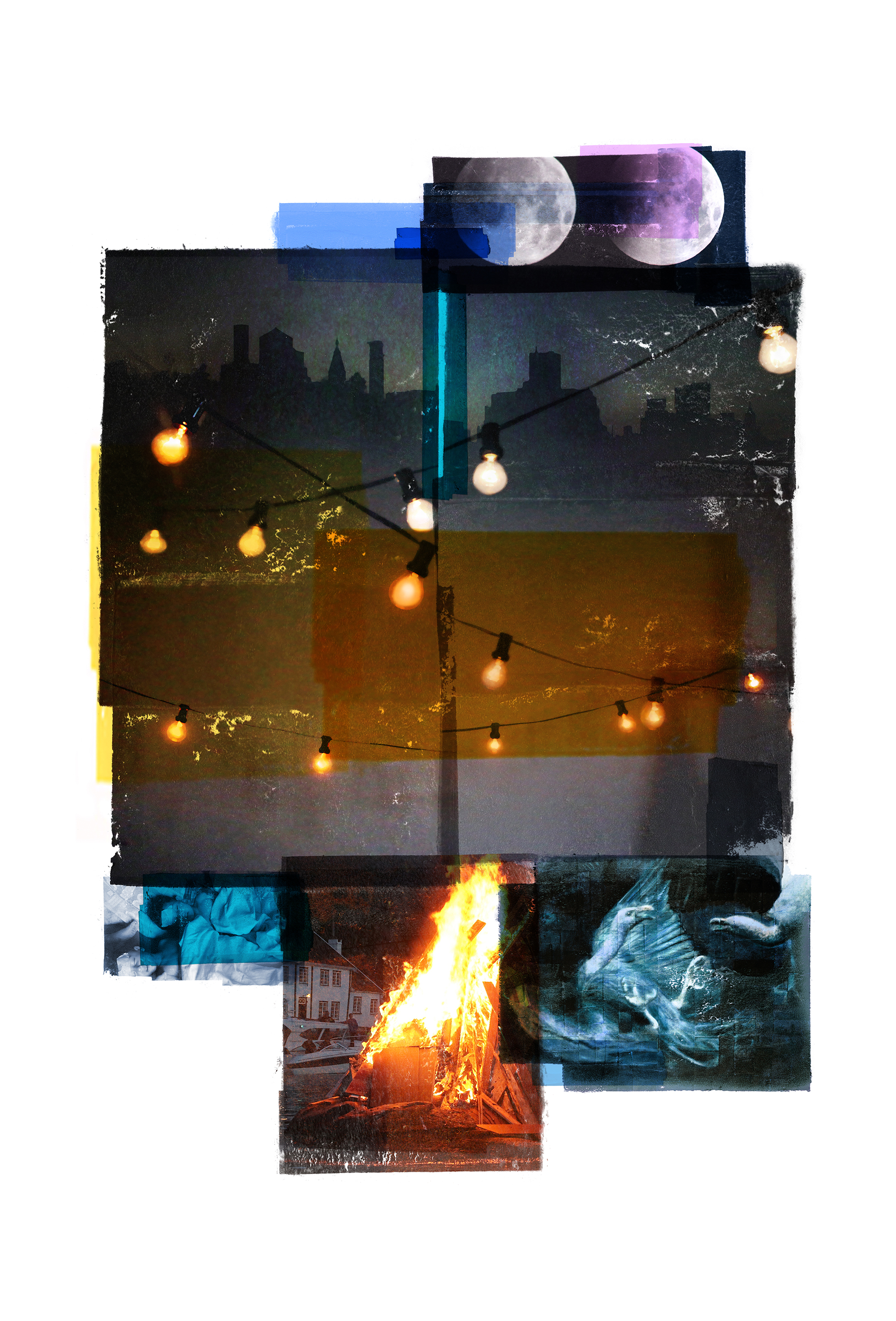 Rim of the party / Moons / Vertical   Original Archival UV Pigment Print / BFK Rives 250 gr 35 x 56 cm / 13,7 x 22 in Edition of 70 + 7 Ap Editeur: Per Fronth Studios / Printer Henrik Aunevik  27/2016:
