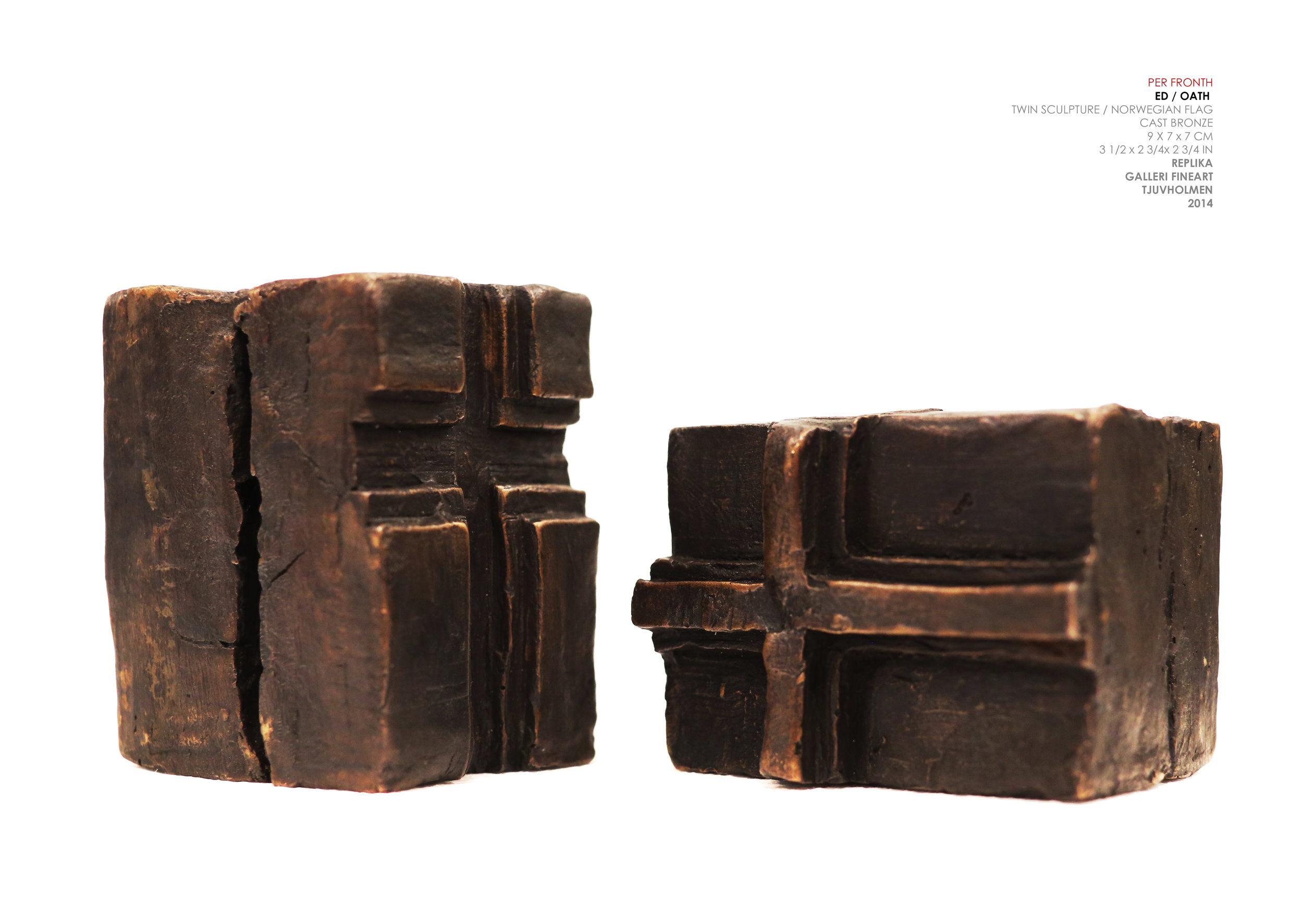 """Flag Sculpture """" ED """"  Cast Bronze 9 x 7 x 7 cm / 3.5 x 2.75 x 2.75 in Edition of 5 + 2 AP Collection of Stortinget / The Presidents Office"""