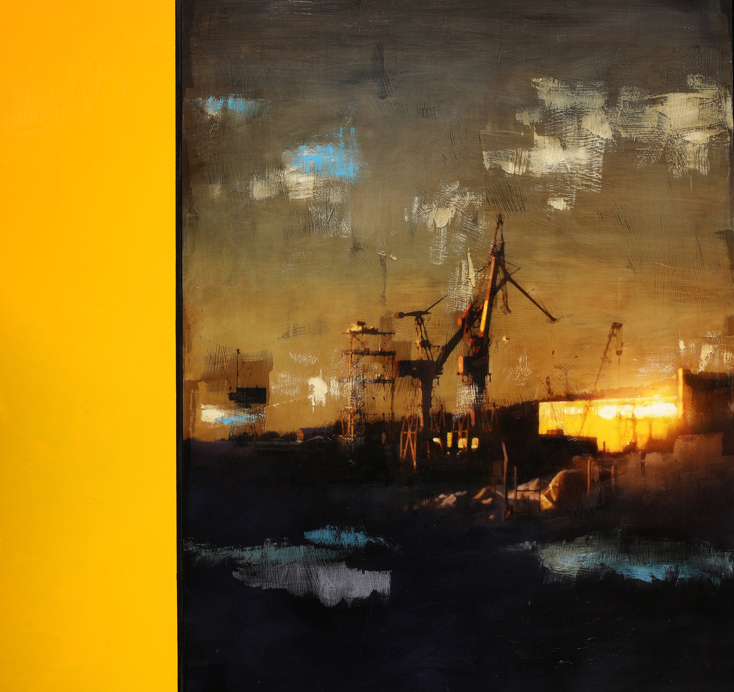 Idle Wharf / January Zenit ( Archipelago)  Mixed Media / Oil on MDF 125 x 120 cm / 49 x 47 in Ver I.: Private Collection / Norway 2017