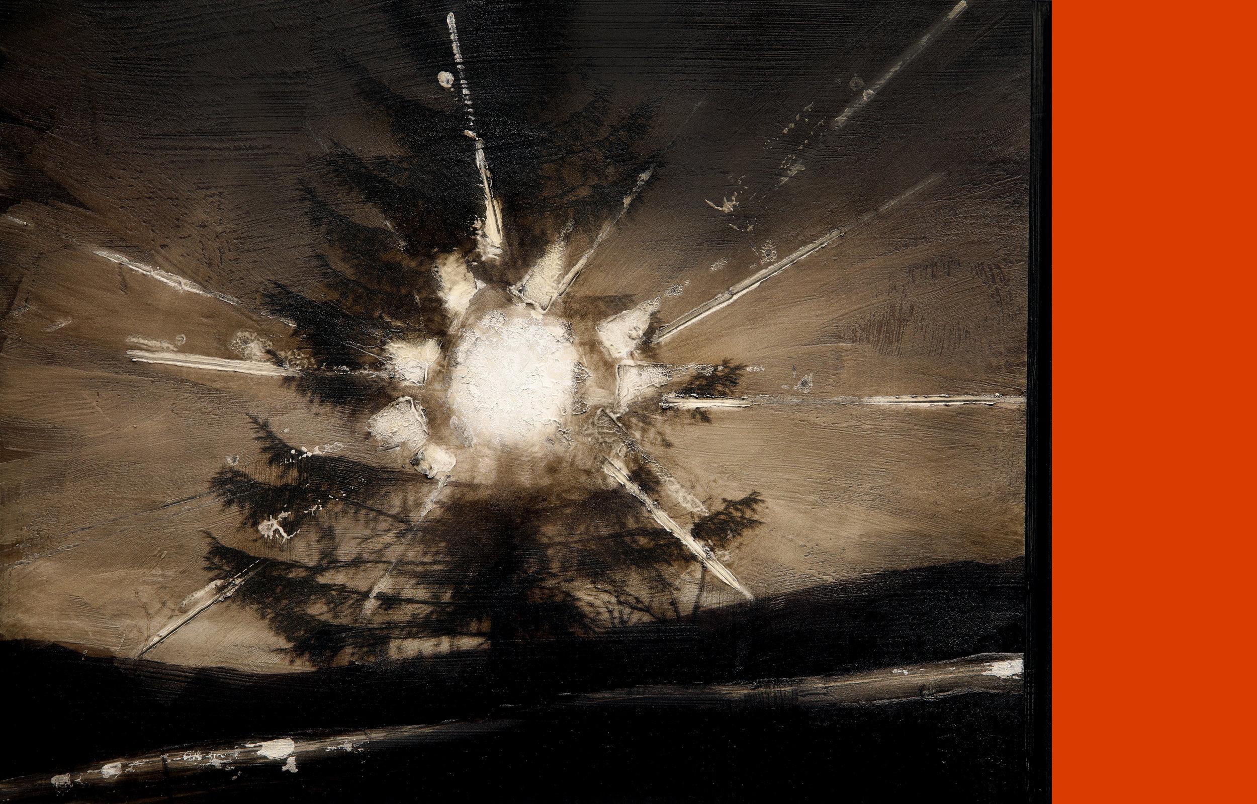 Monochrome / Reservoir / Fountain ( Setesdal)  Mixed Media / Oil on Canvas 60 x 40 cm / 24 x 16 in Courtesy: Hamar Sagbladsfabrikk