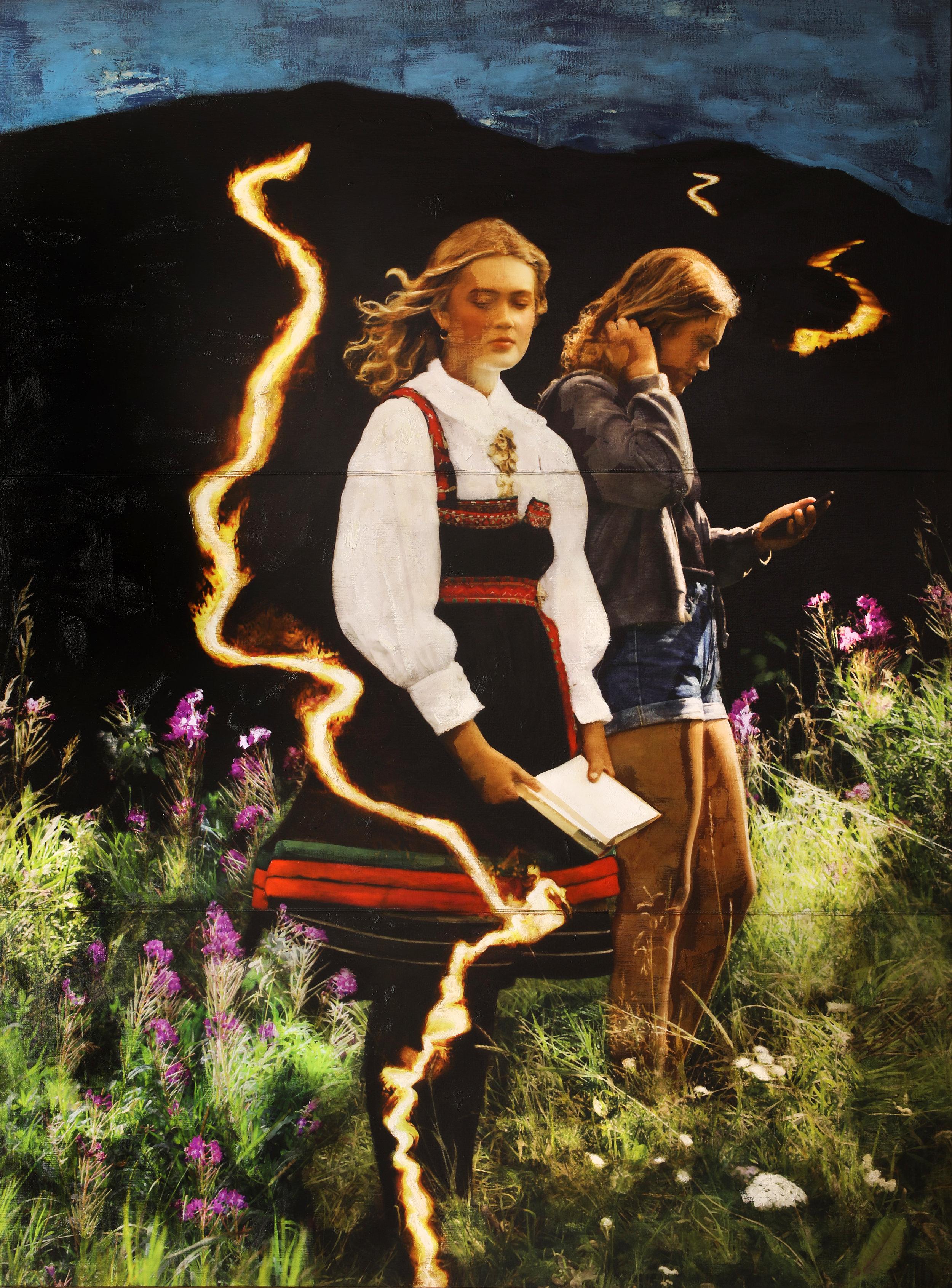 Utveg / Reservoir ( Setesdal) )  Mixed Media / Oil on Canvas / Sewn 200 x 270 cm / 78 x 106 in Commission Valle Bibliotek og Kyrkjestove ( Sæbyggjen) Gift from Valle Sparebank Unveiled Sep 2018