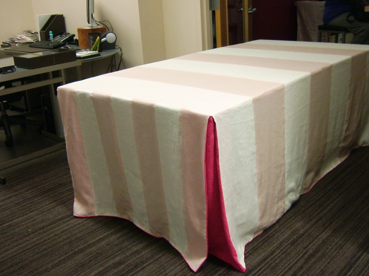 Satin Tablecloth with Corner Box Pleats
