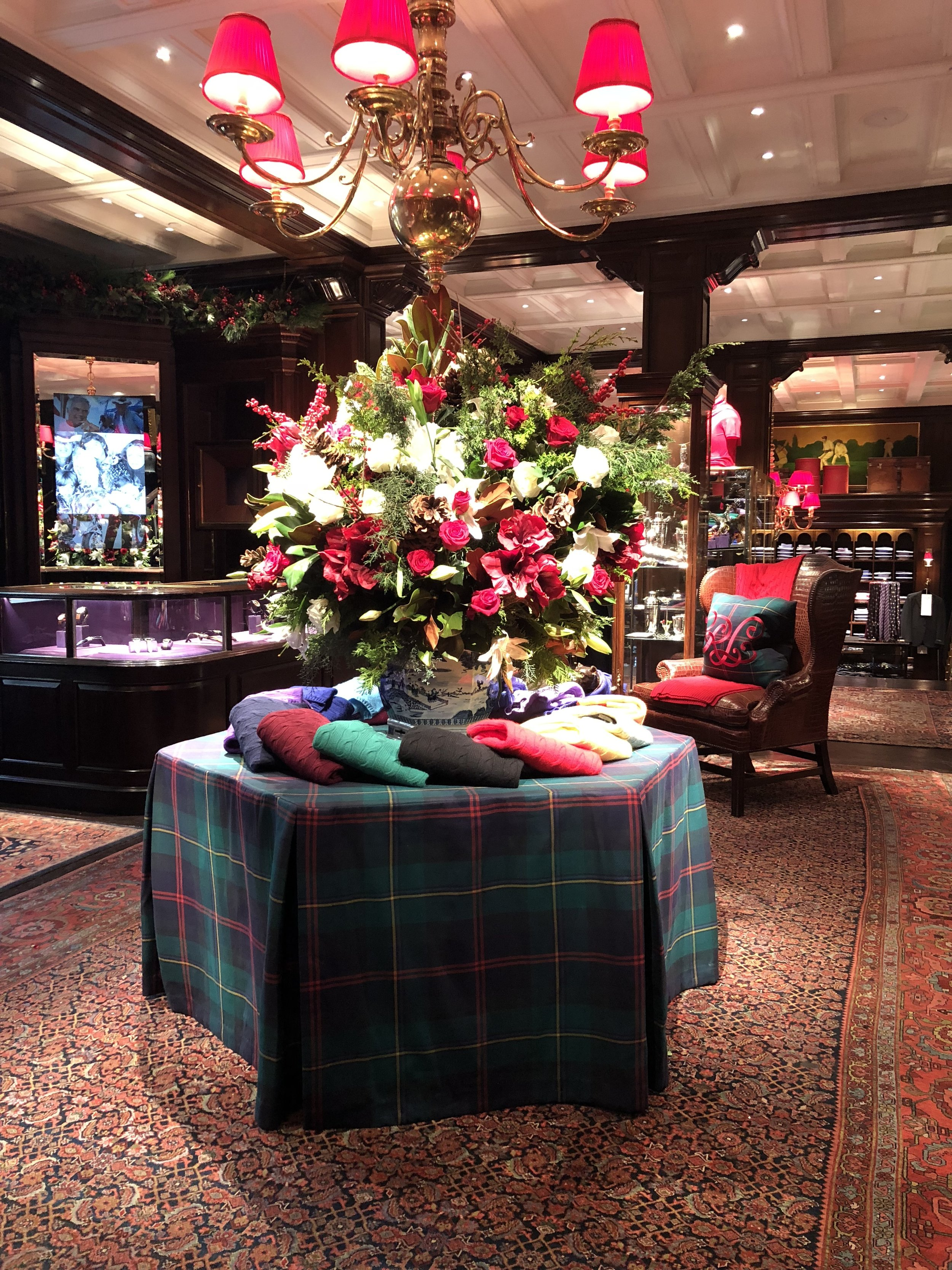 Fitted Plaid Tablecloth for Ralph Lauren Flagship
