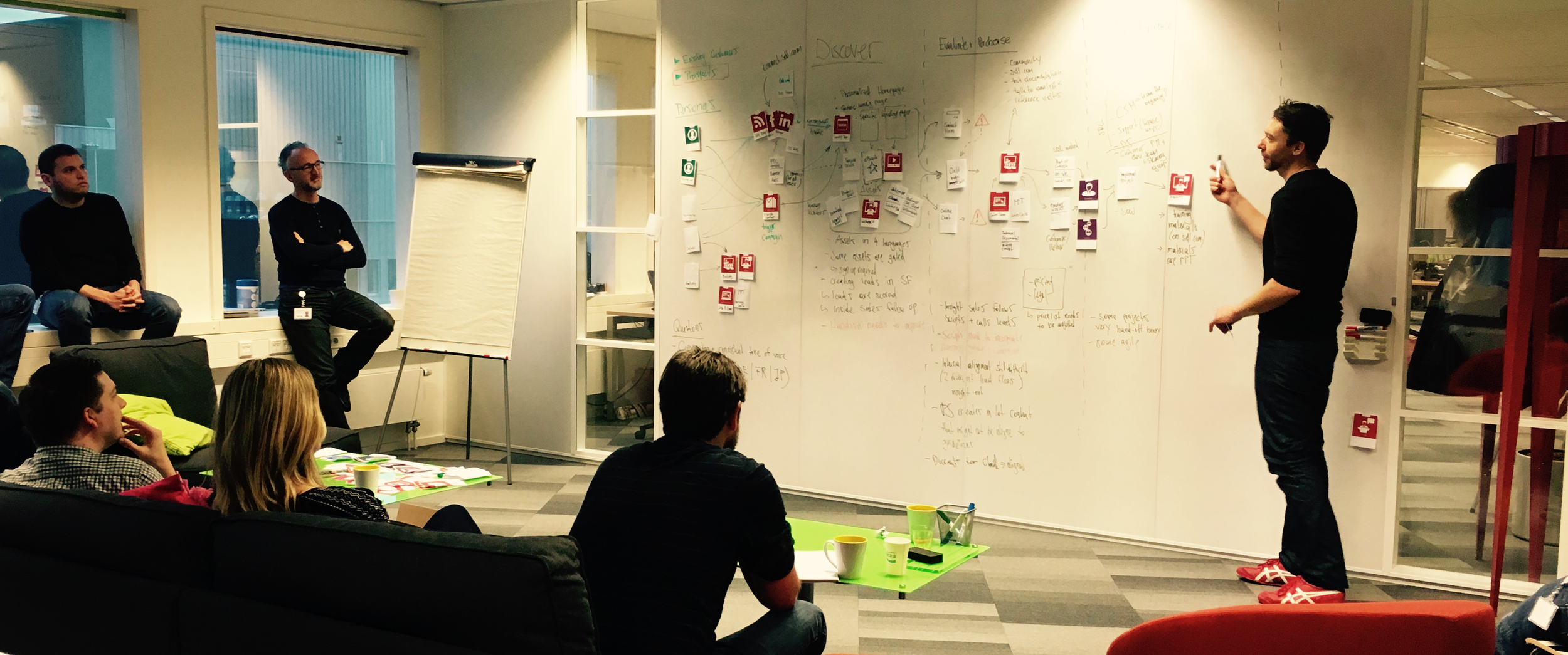 Facilitating a group in a design thinking workshop