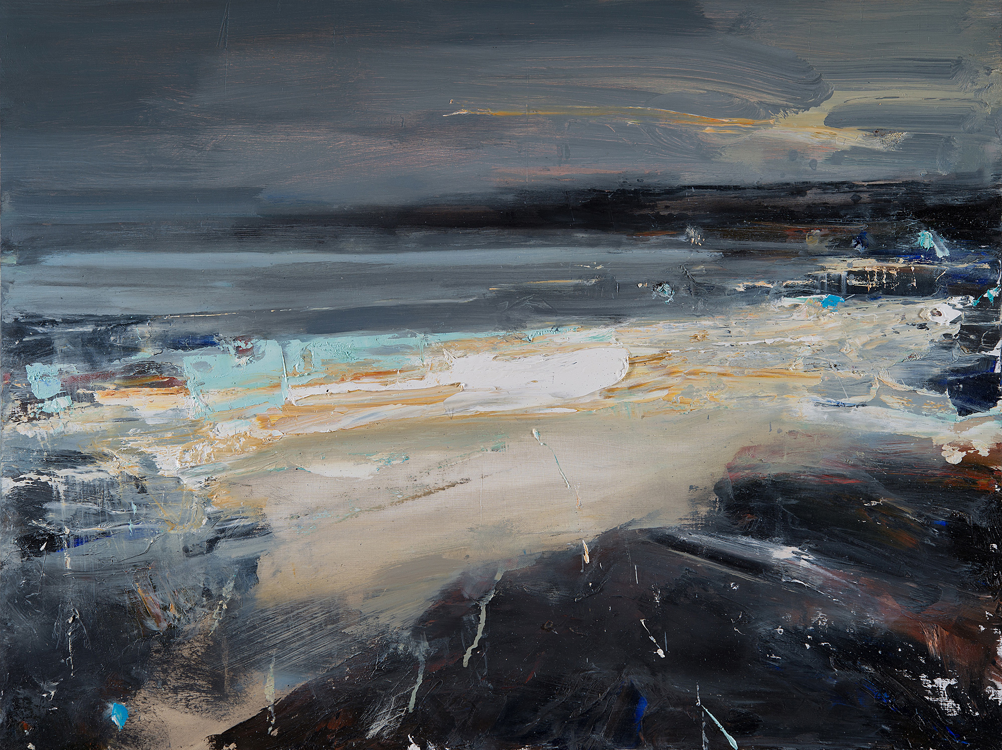 Autumn Storms,Godrevy. Oil on board.60 x 80cm  Sold