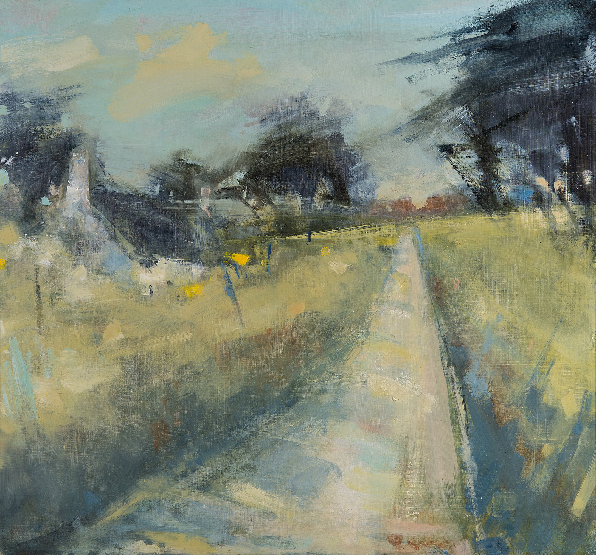 Early Spring,Cornish Lane.  Oil on board.65 x 70cm  Sold