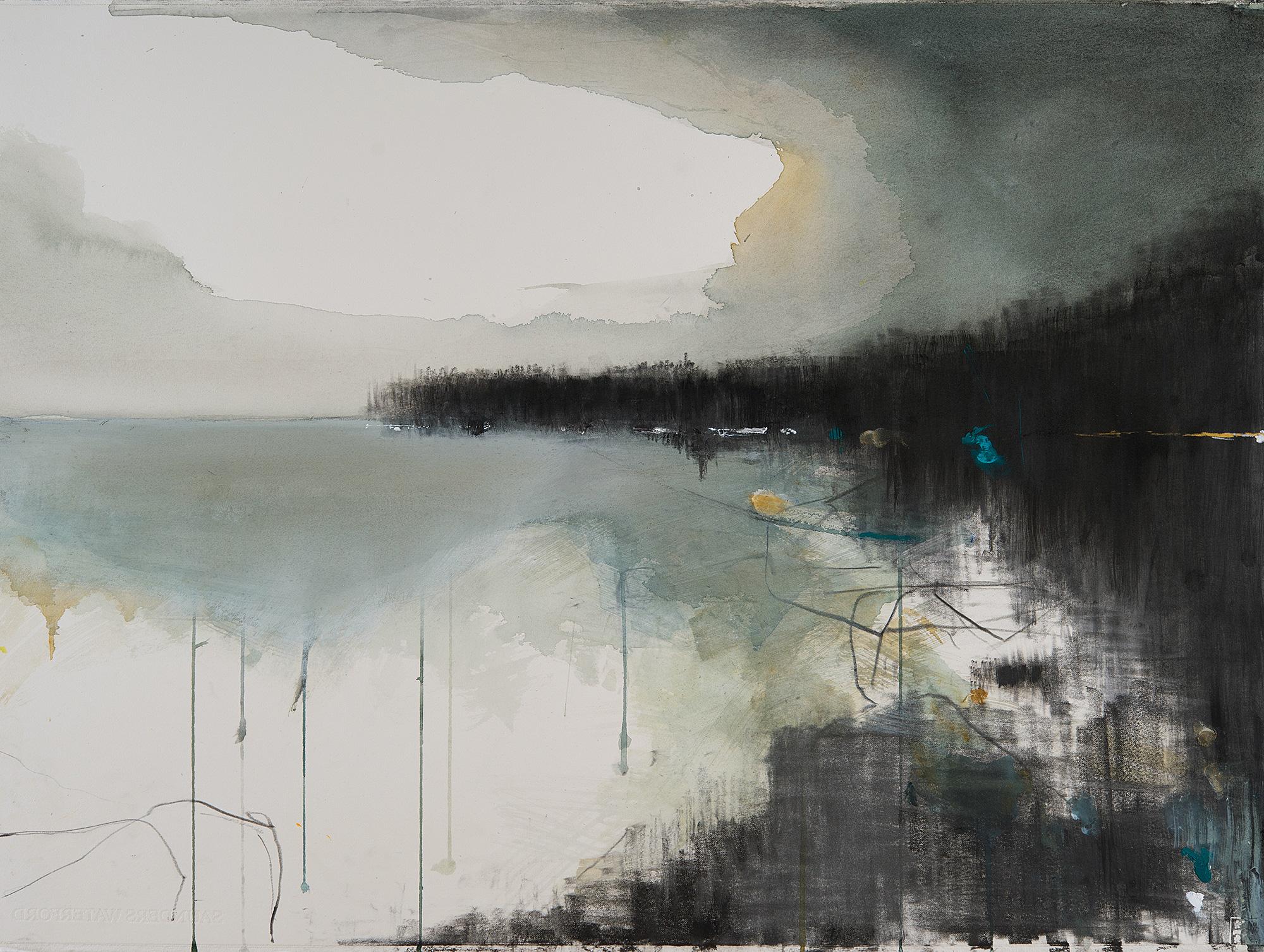 Green Seas,Rosemullion . Mixed media on paper.57 x 77cm  Sold