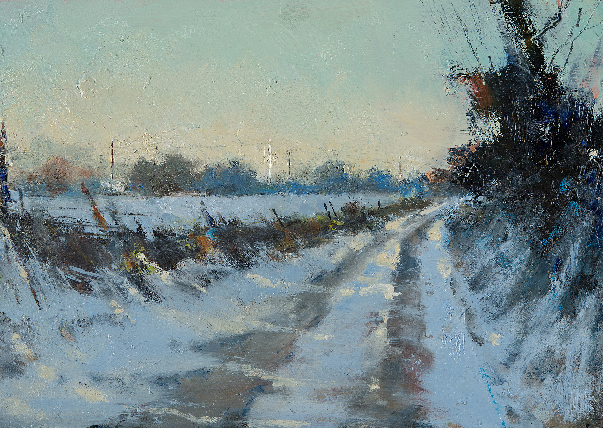 Evening Walk,Soft Snow.  Oil on board.22 x 31cm  Sold