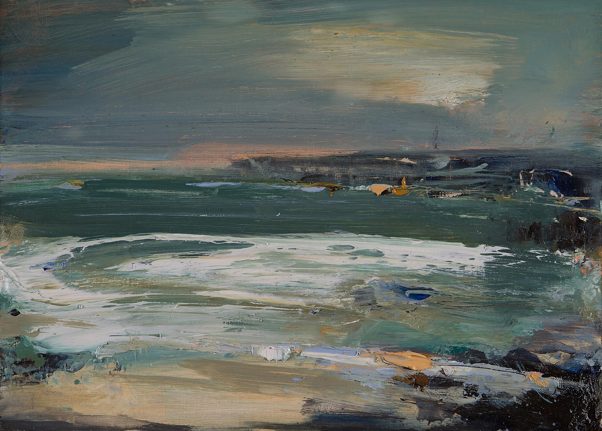 Green Tides,Sennen.  Oil on board.22 x 31cm  Sold