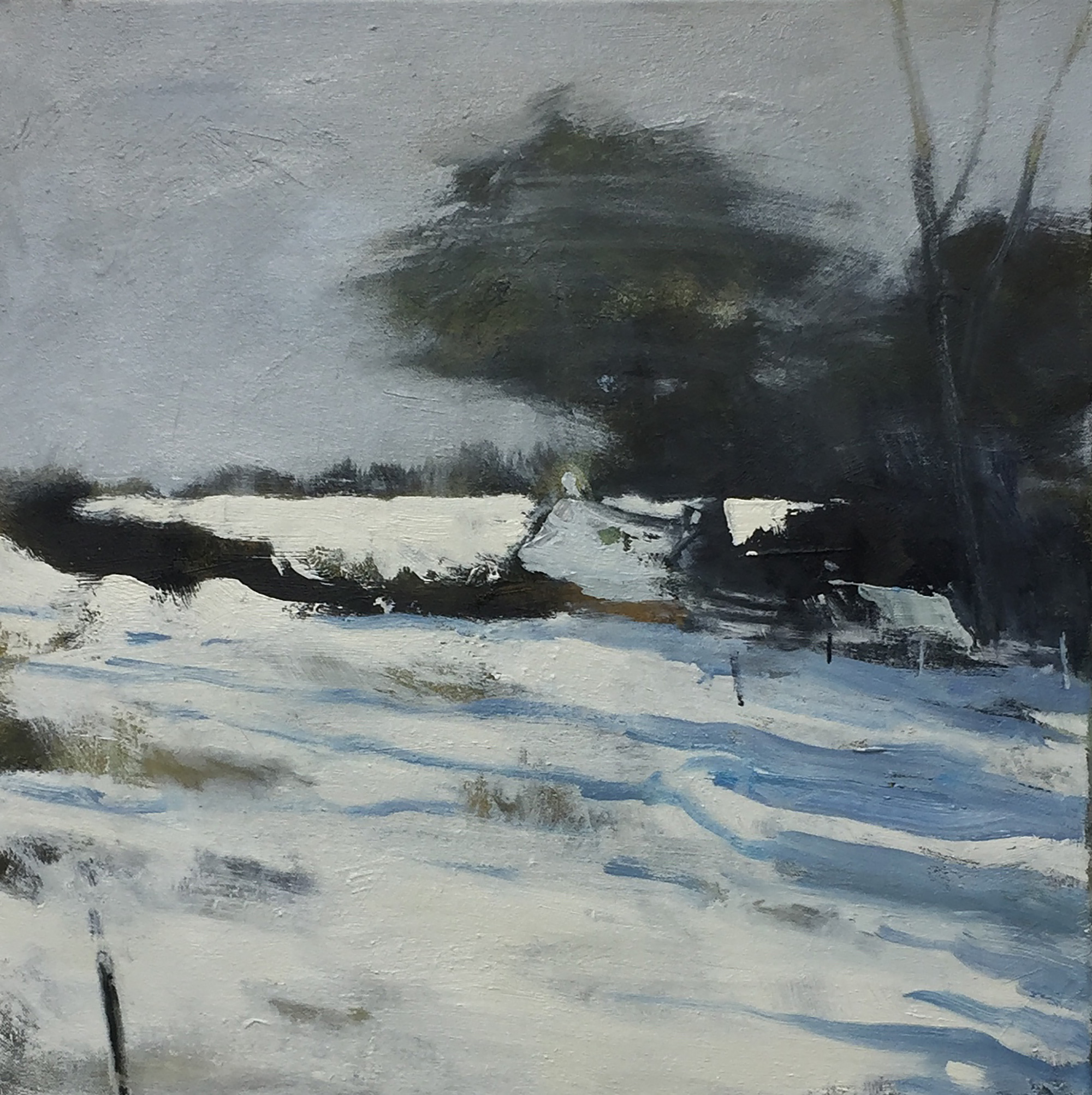 Grey Winter.  Oil on canvas.45 x 45cm  Sold