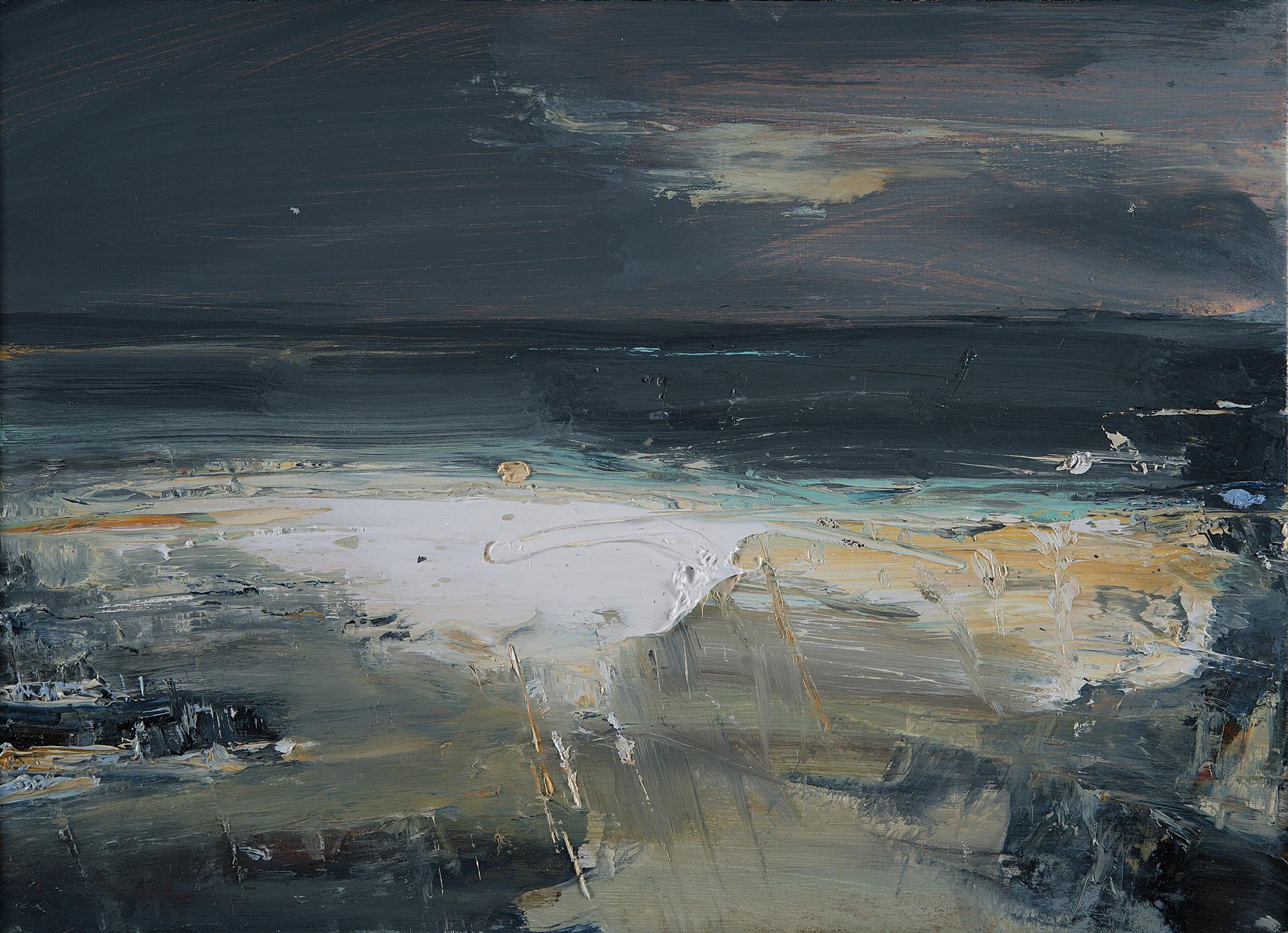 Ochre Seas,Gwithian Beach . Oil on board.22 x 31cm  Sold