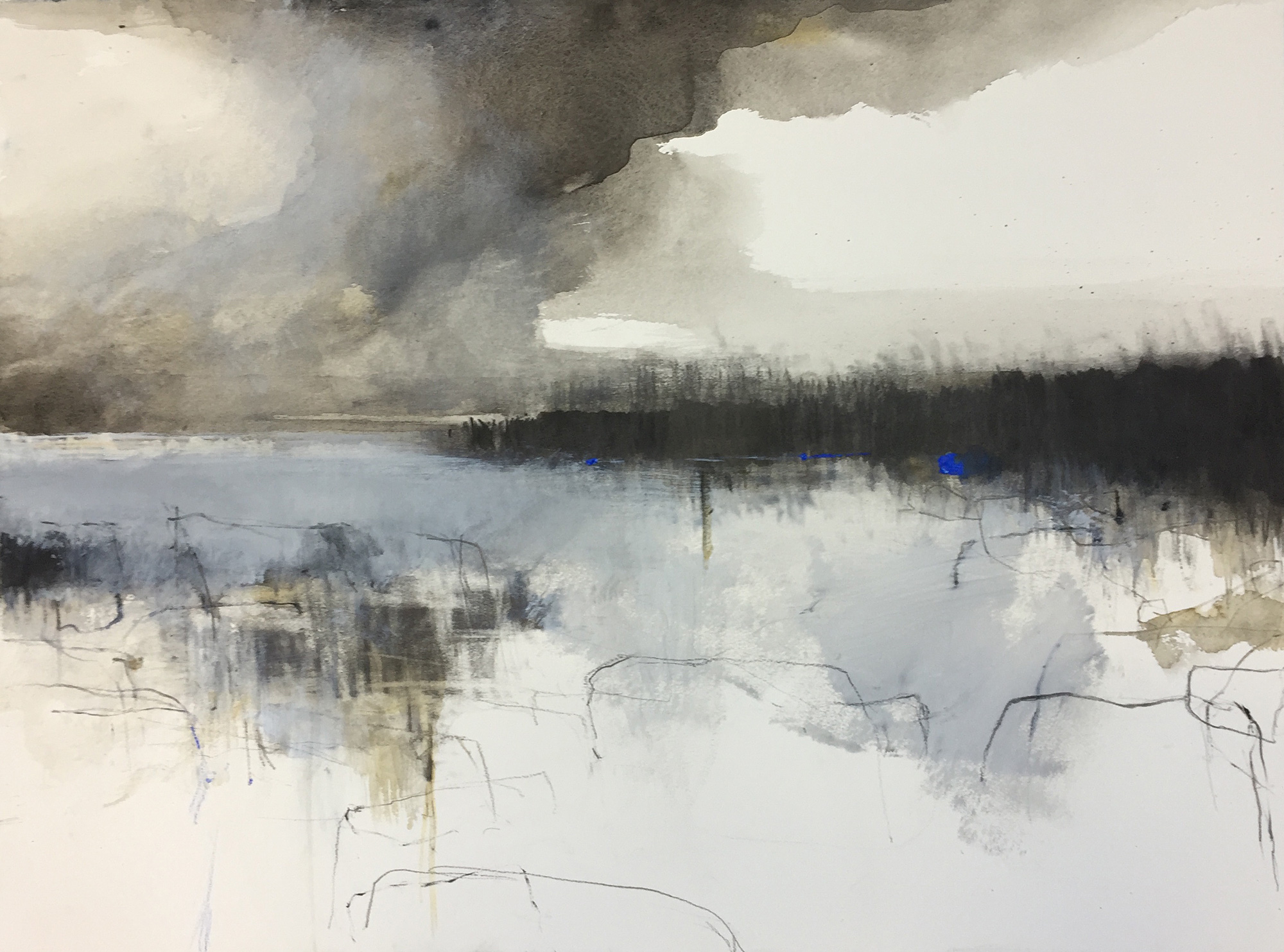 Clouds on the Cliffs.  Graphite & mixed media on paper.57 x 77cm  Sold