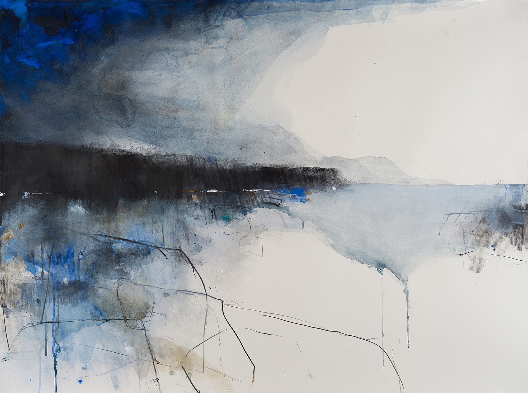 Cobalt Blue Waters,Cornish Headland.  Graphite,oil,watercolour and gesso on paper.80 x 115cm  Sold