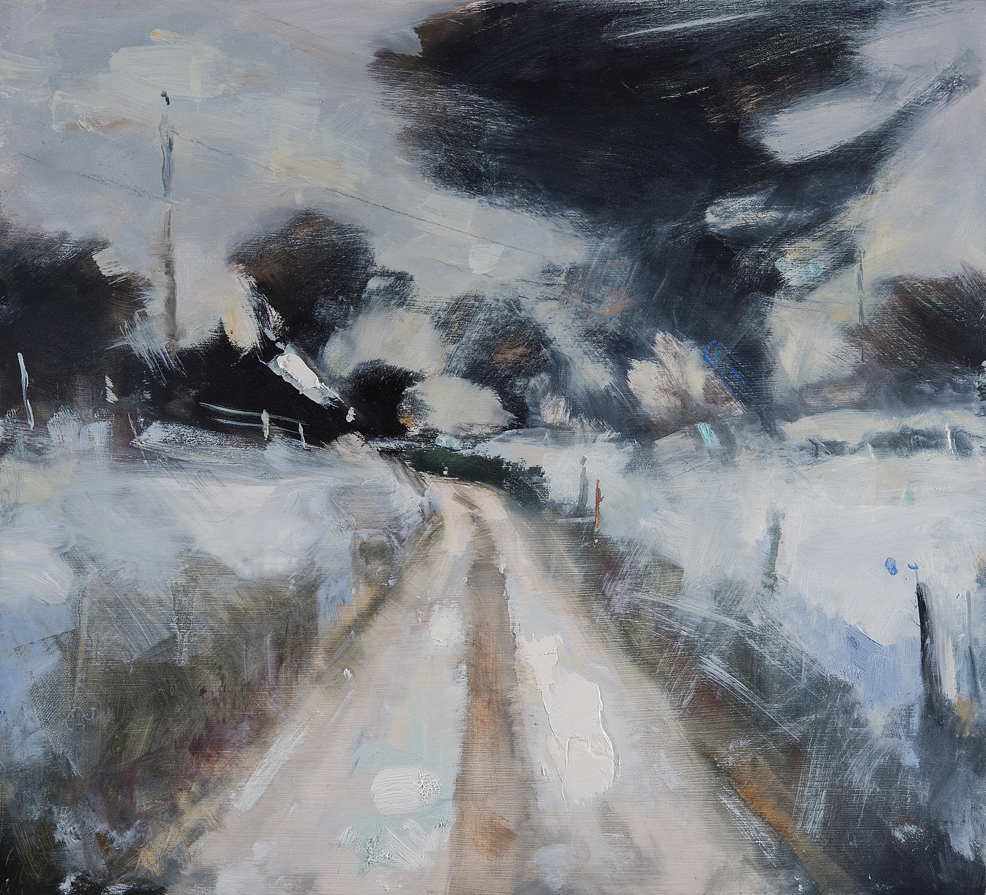 Snowfall,Devon Lane.  Oil on board.50 x 55cm  Sold