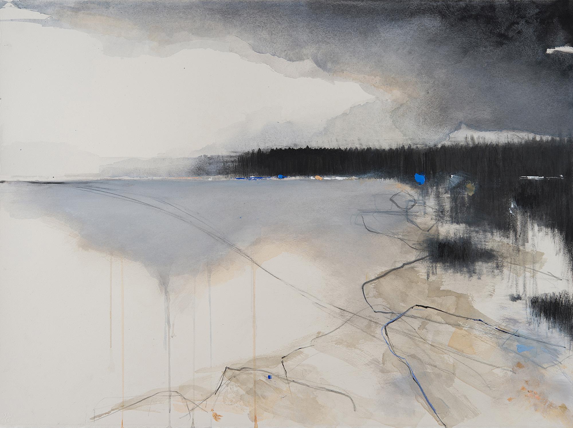 Still Grey Seas.  Graphite,watercolour,oil and gesso on paper.57 x 77cm  Sold